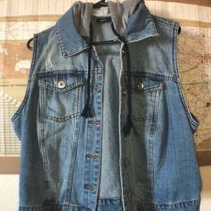 Jackets & Blazers - Hooded Jean Vest